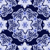 Photo graceful seamless texture with blue arabesque