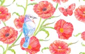 képzelet zökkenőmentes textúra Pipacsok és aranyos madár repül a pillangó