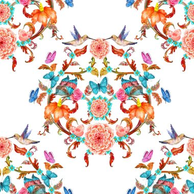 Vintage seamless texture with elegant floral pattern and birds stock vector