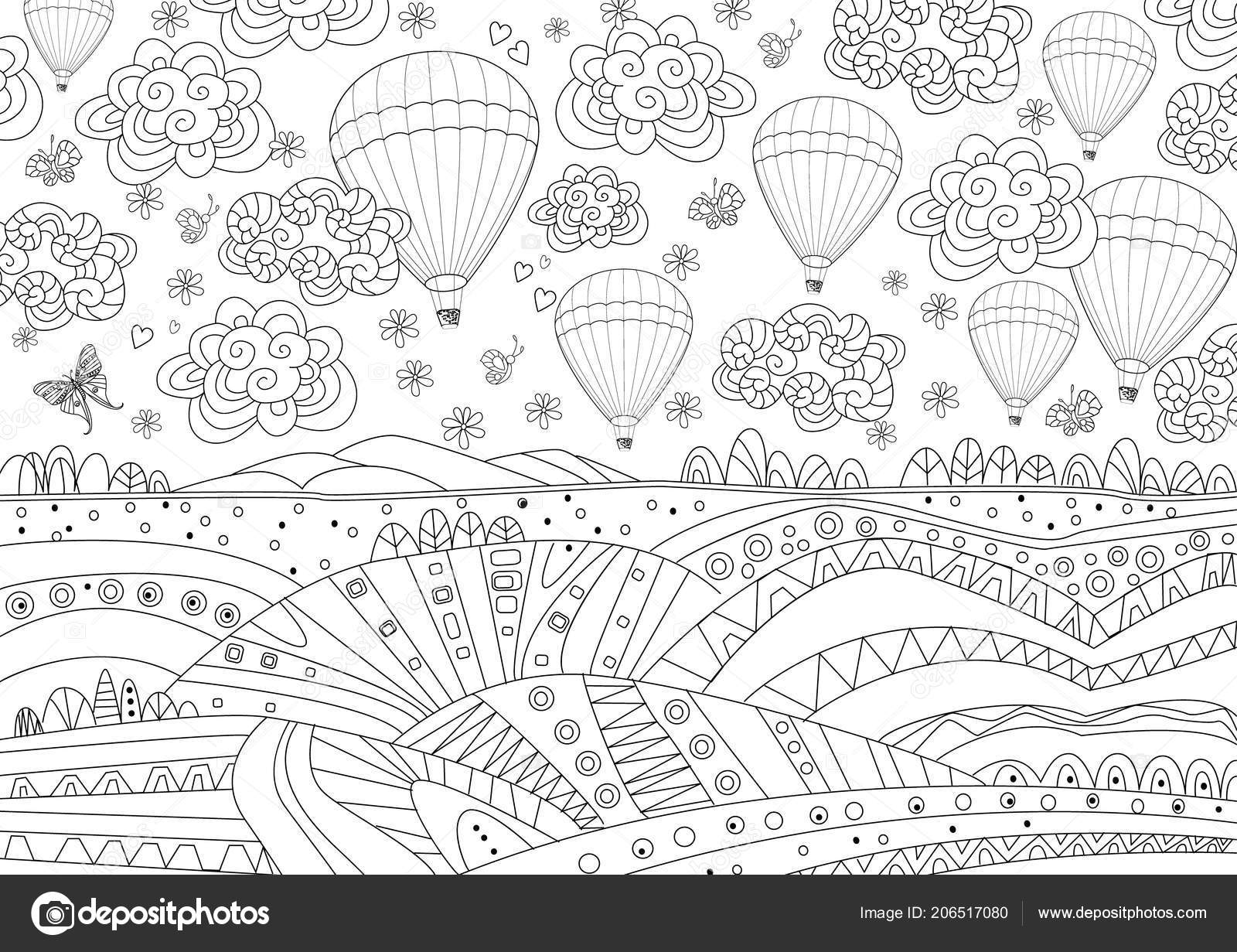 Seamless Texture Hot Air Balloons Sky Coloring Book Stock Vector