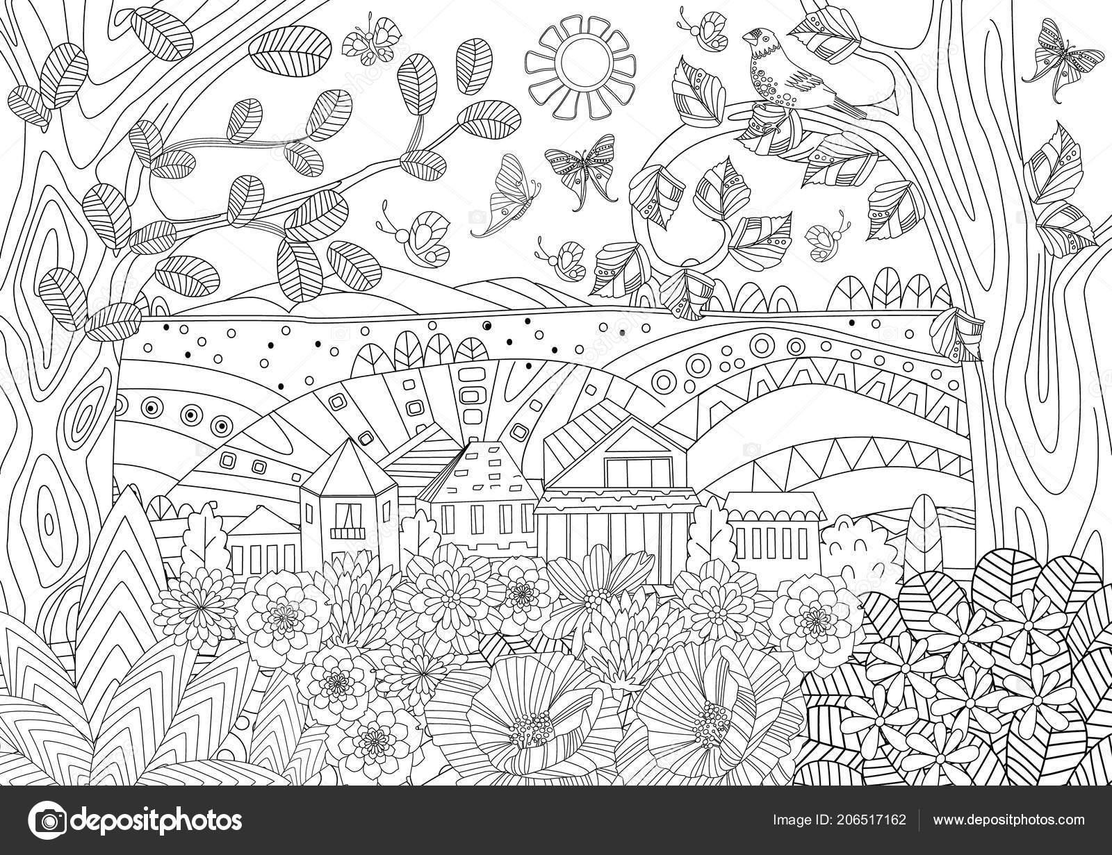 летний деревенский пейзаж раскраски книга векторное