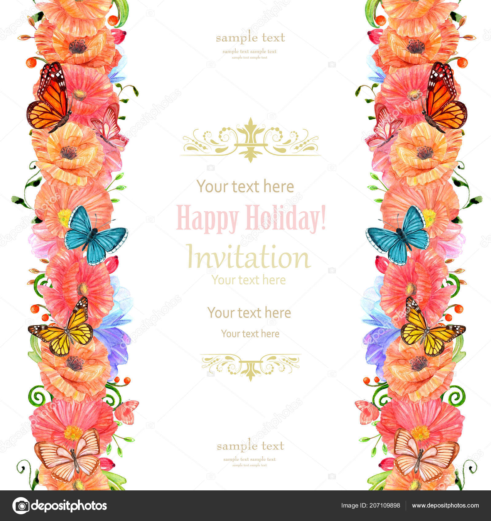 Invitation Card Vertical Floral Seamless Borders Stock