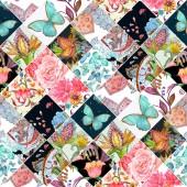 Fotografia Priorità bassa senza giunte eterogenea con motivo floreale patchwork. pittura ad acquerello