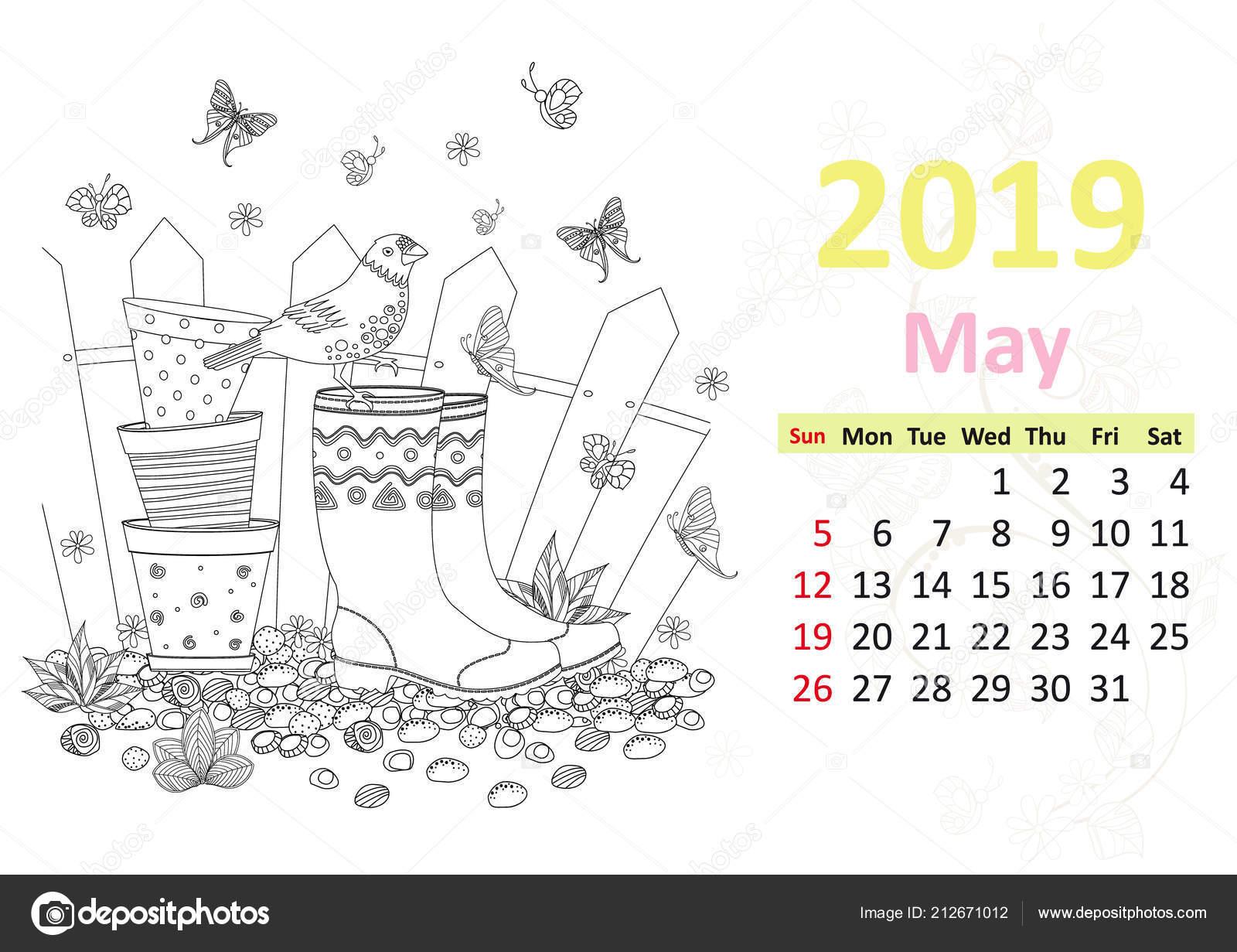 Yağmur Botları Tencere üzerinde Oturan Kuş Ile Mayıs 2019 Için