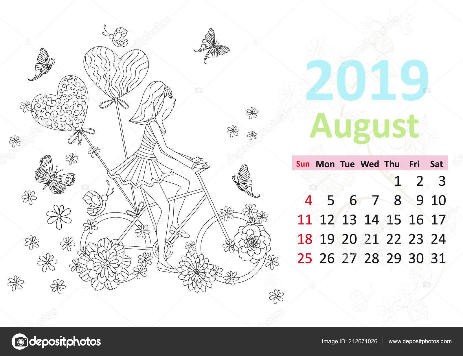Takvim Sayfası Için Ağustos 2019 Kadın Binicilik Bisiklet Ile Boyama