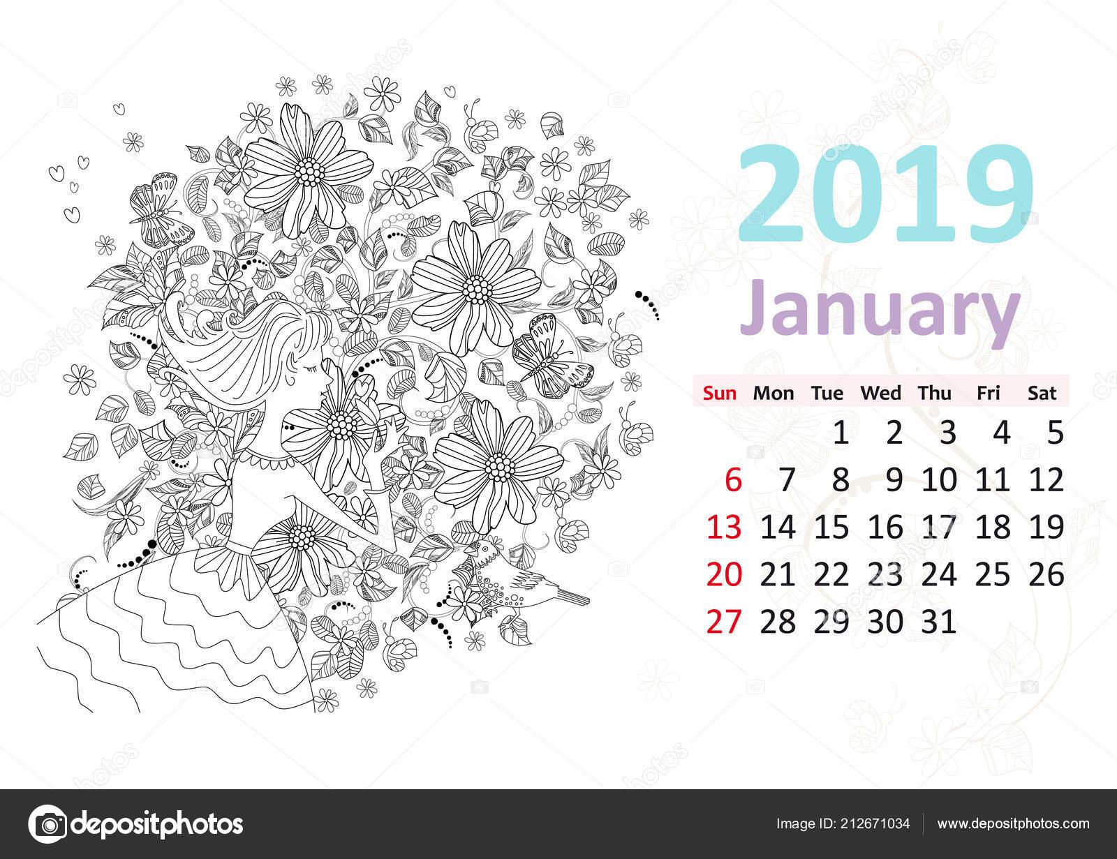 Takvim Sayfası Ocak 2019 Için Kadın Kokulu çiçeklerle Boyama Stok