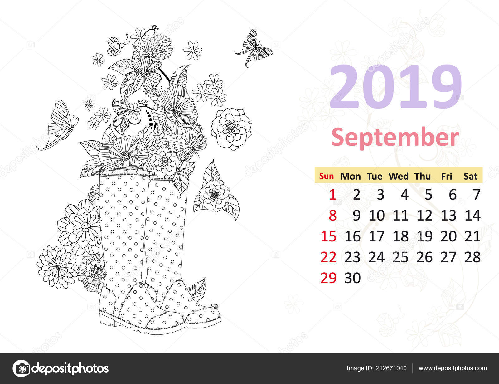 Coloring Calendar Page September 2019 Flowers Rain Boots Stock