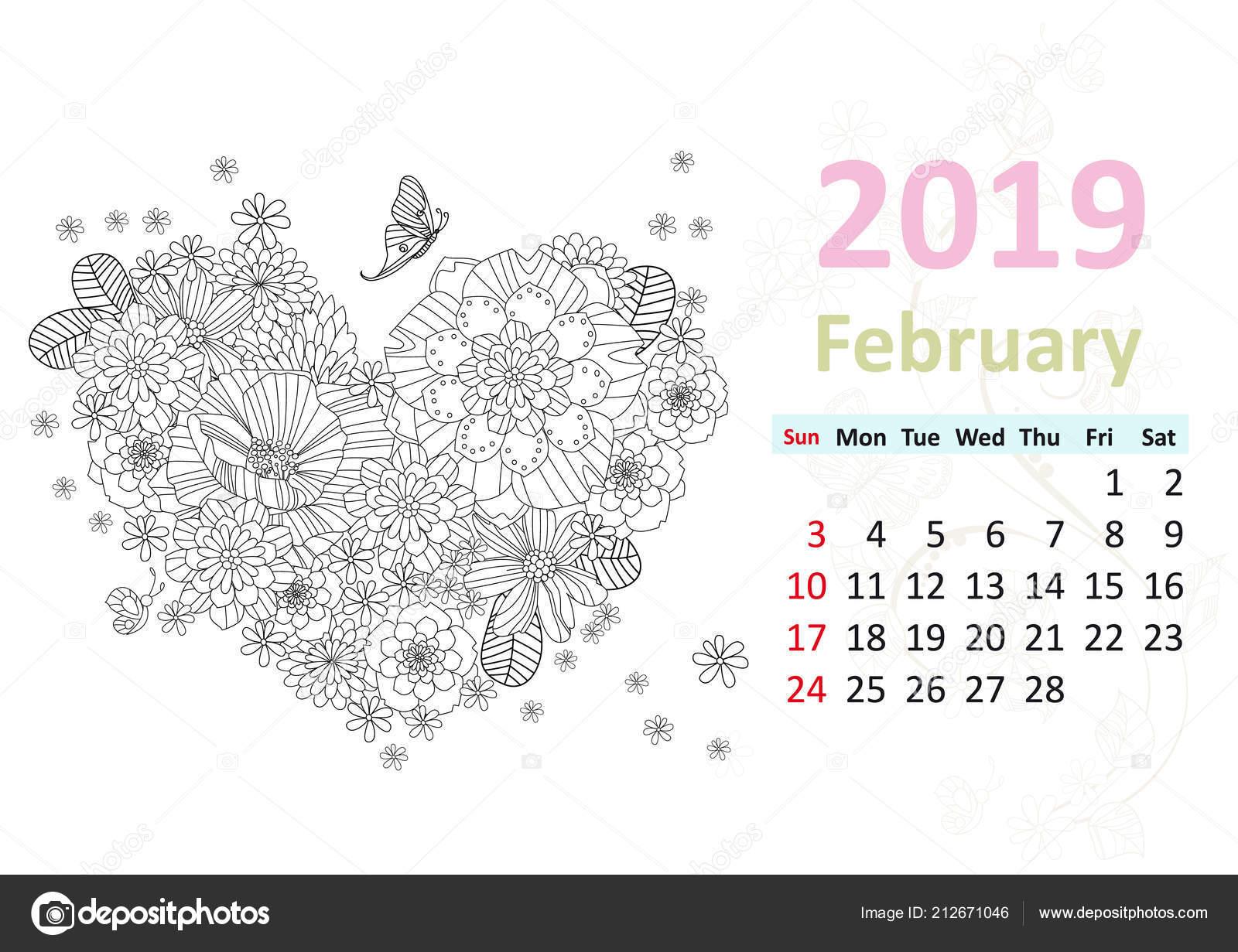 Takvim Sayfası Için şubat 2019 Kalp Oluşturan çiçeklerle Boyama