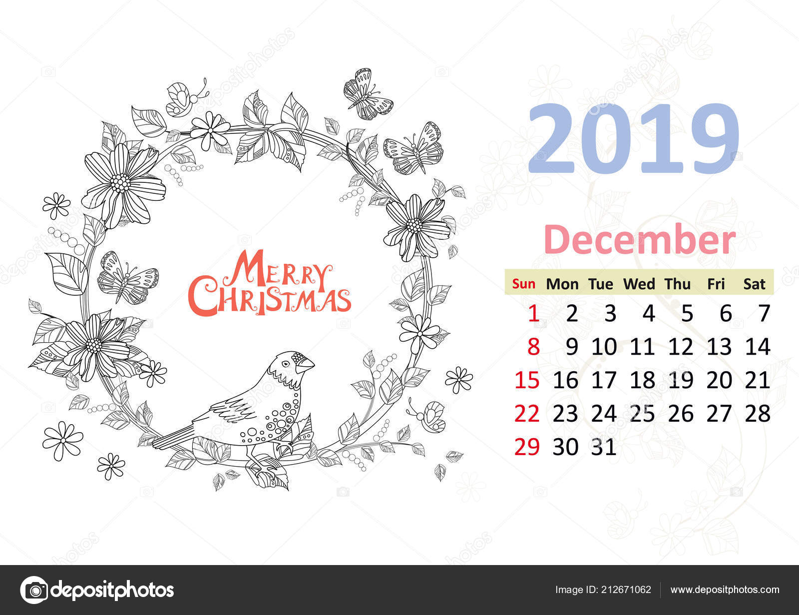 Coloring Calendar Page December 2019 Bird Sitting Floral Circle
