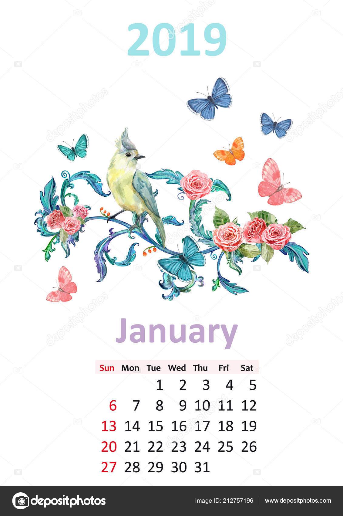 Calendario Enero 2019 Floral Romántico Con Mariposas Aves Sentado