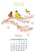 Fotografie Romantische Blumen Mai 2019 Kalender mit Vogel auf blühenden Ast