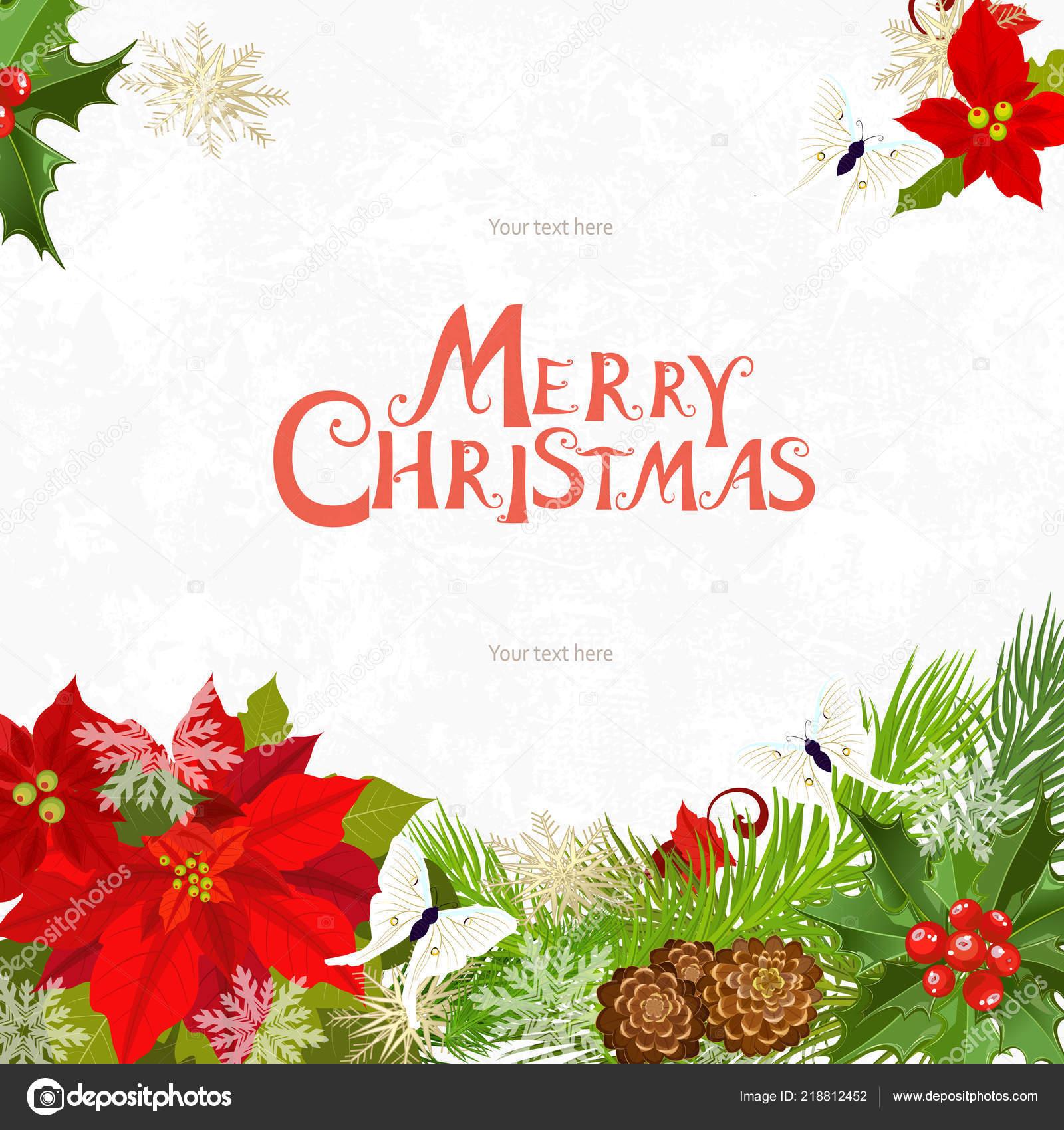 Tarjeta Invitación Navidad Para Diseño Vector De Stock