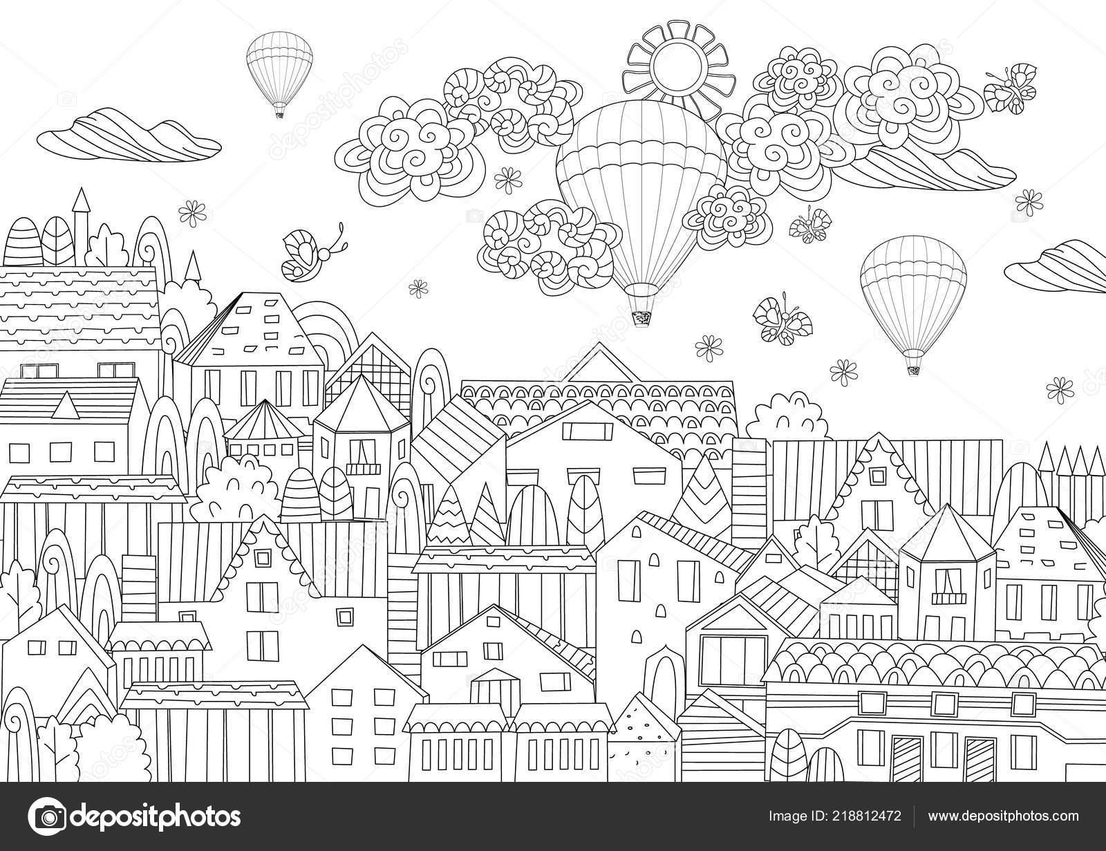 Lujo Urbano Con Globos Aerostáticos Cielo Libro Colorear Vector De