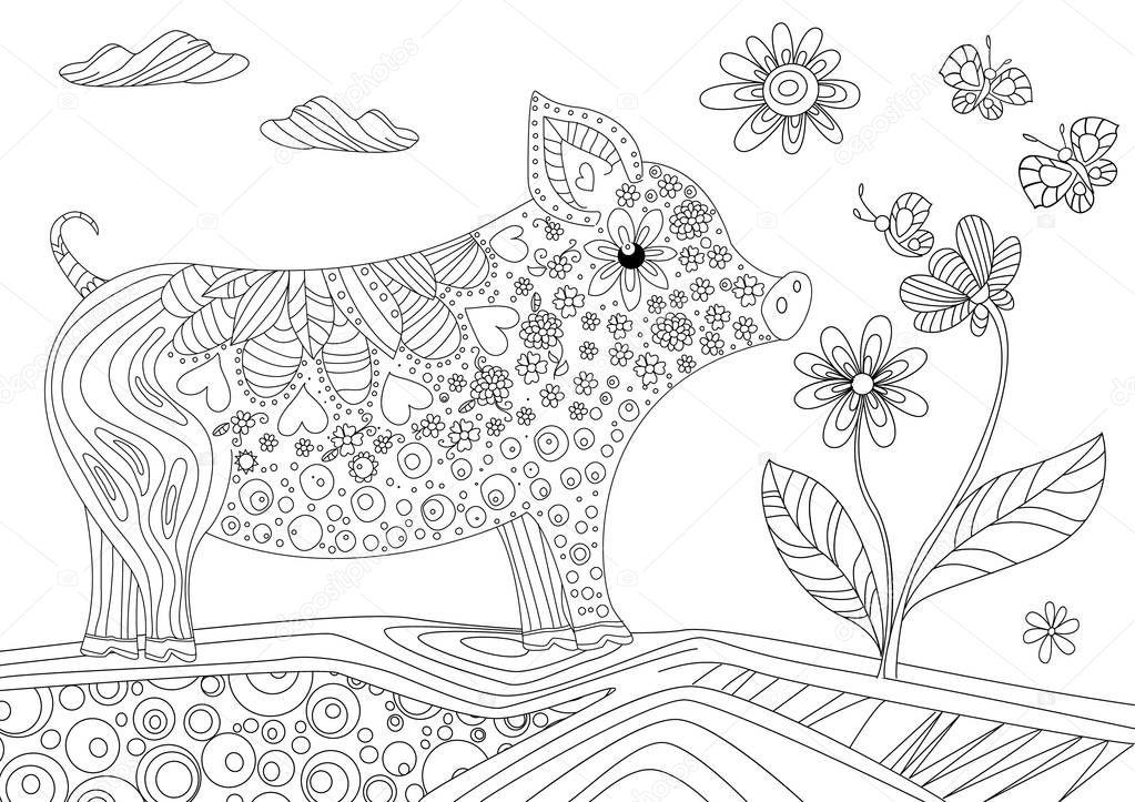 Cerdo Lindo Hermosa Flor Libro Para Colorear — Archivo Imágenes ...