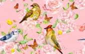 Photo retro seamless texture with birds on roses bush. watercolor painting