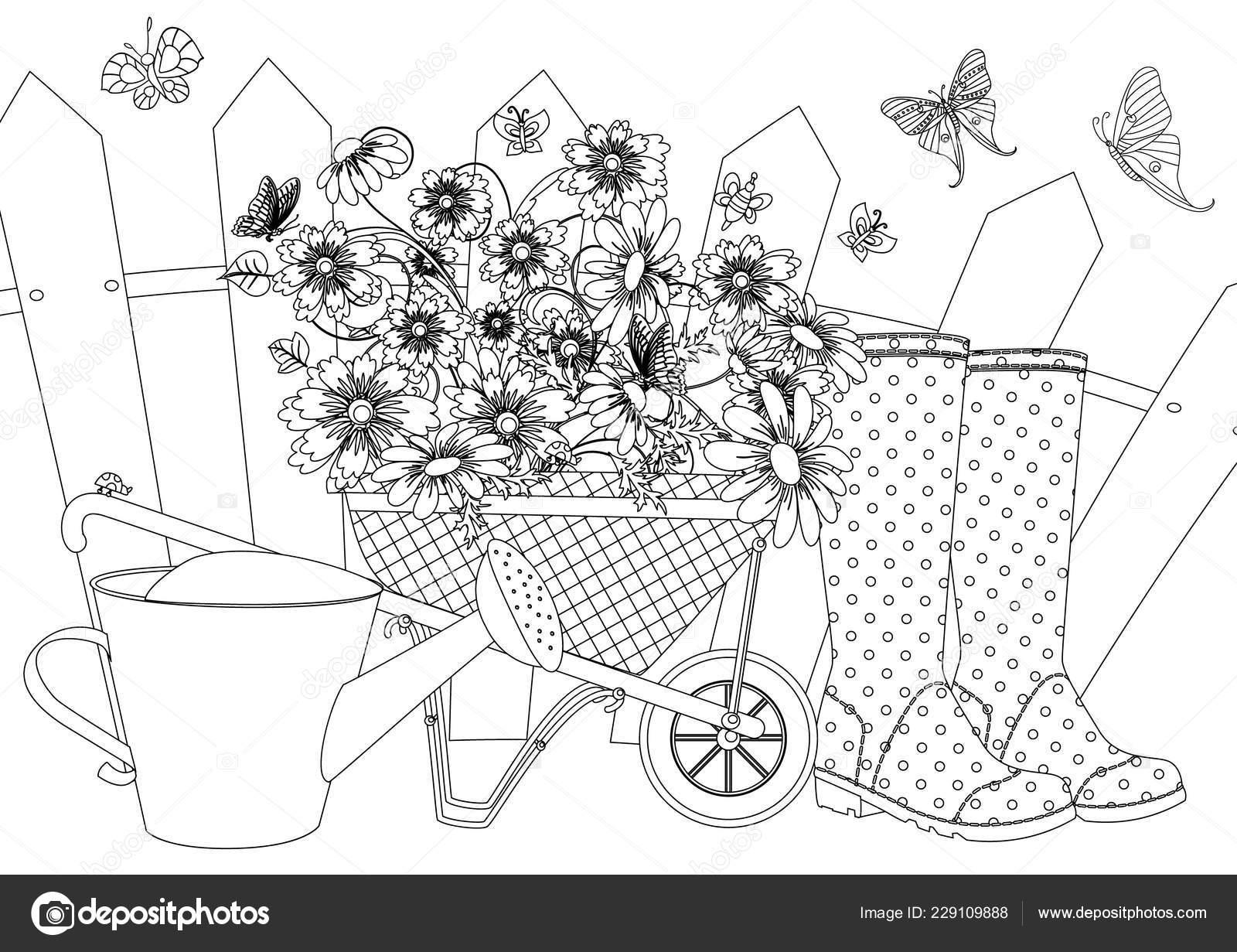 сельский пейзаж набором прекрасные цветы садовые тачки лейка