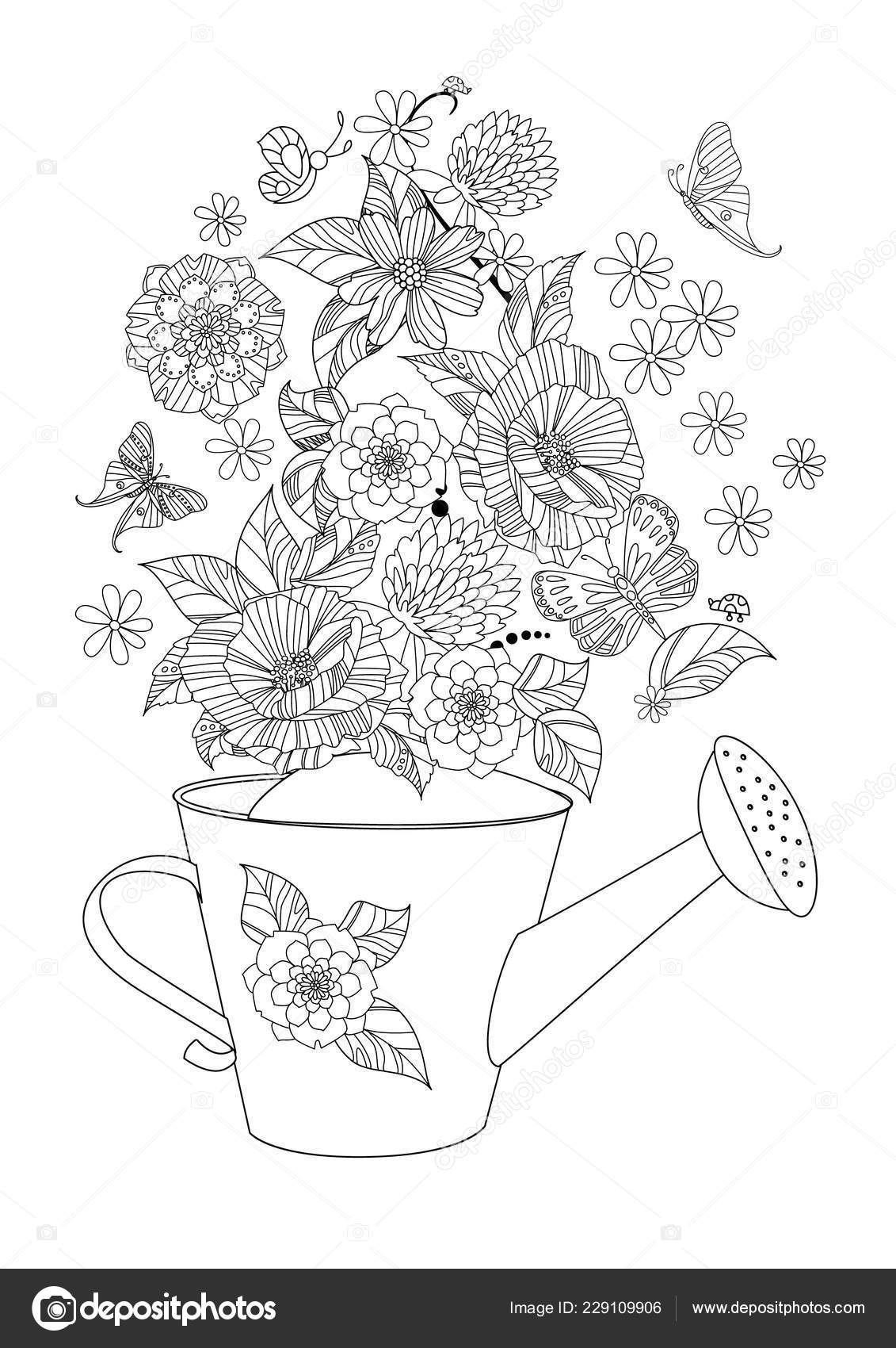 Lovely Flowers Arrangement Watering Can Your Coloring Page Stock
