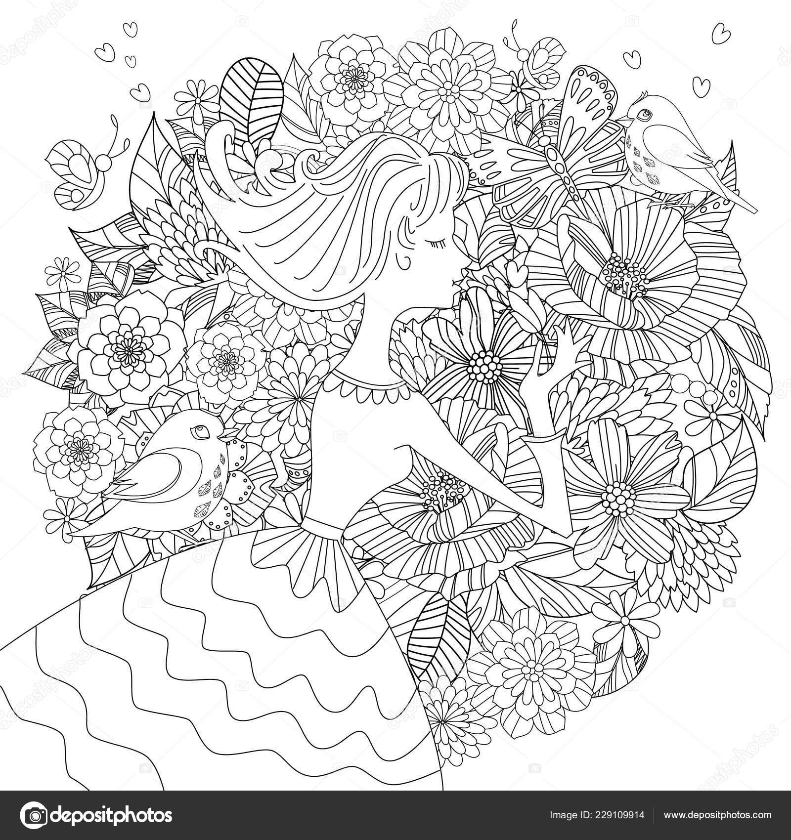 Fancy Pretty Girl Flowers Birds Your Coloring Book Stock Vector C Oksana 229109914