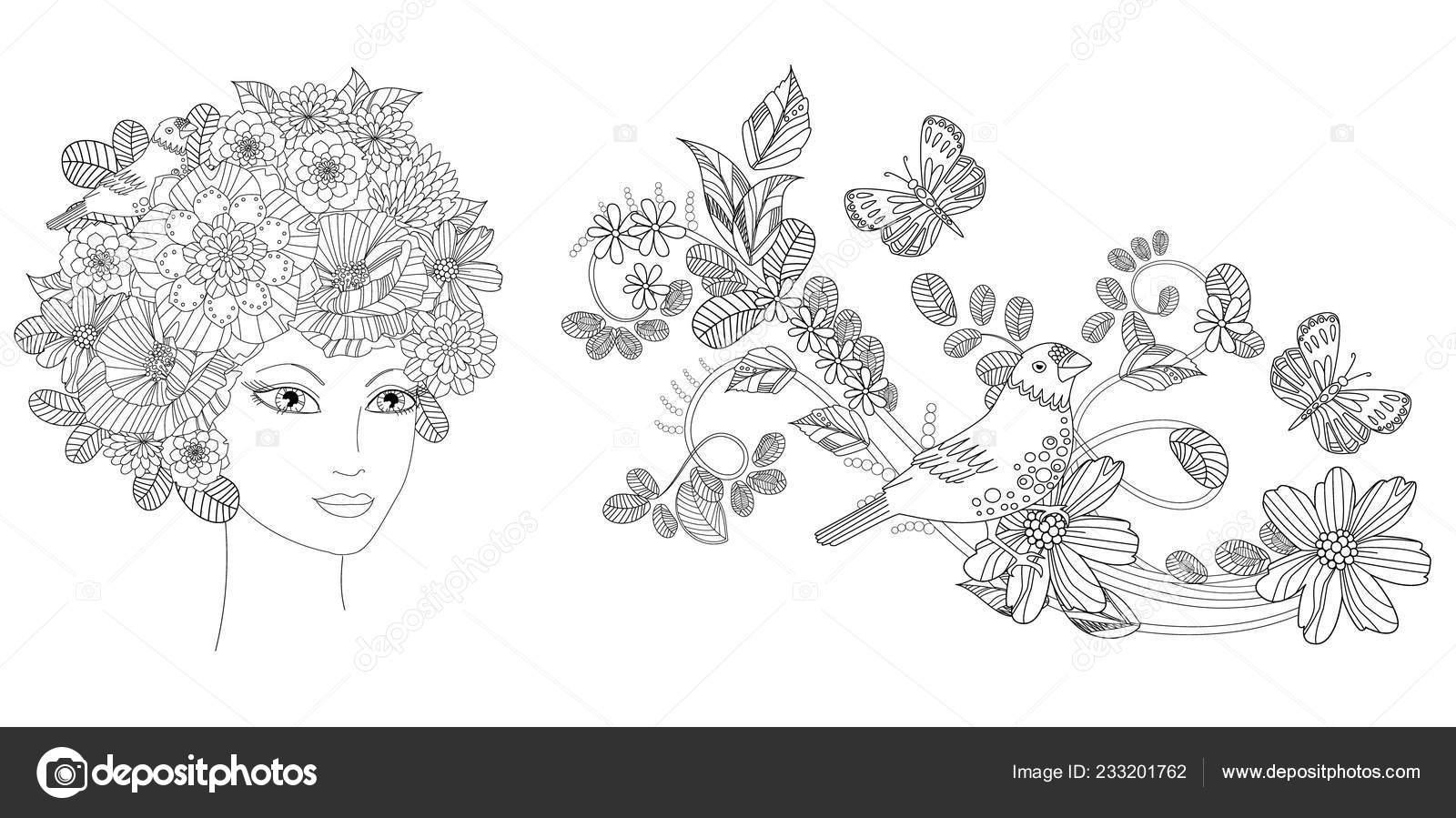 коллекции красивой молодой женщины цветами цветочным узором