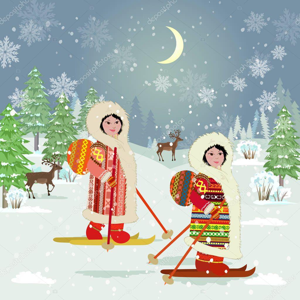 c1ea24ffc3 Noite Inverno Floresta Paisagem Com Meninas Esqui Traje Tradicional Dos —  Vetor de Stock © Oksana  233749390