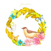 Photo gold floral round ornament with bird on flowers for your design