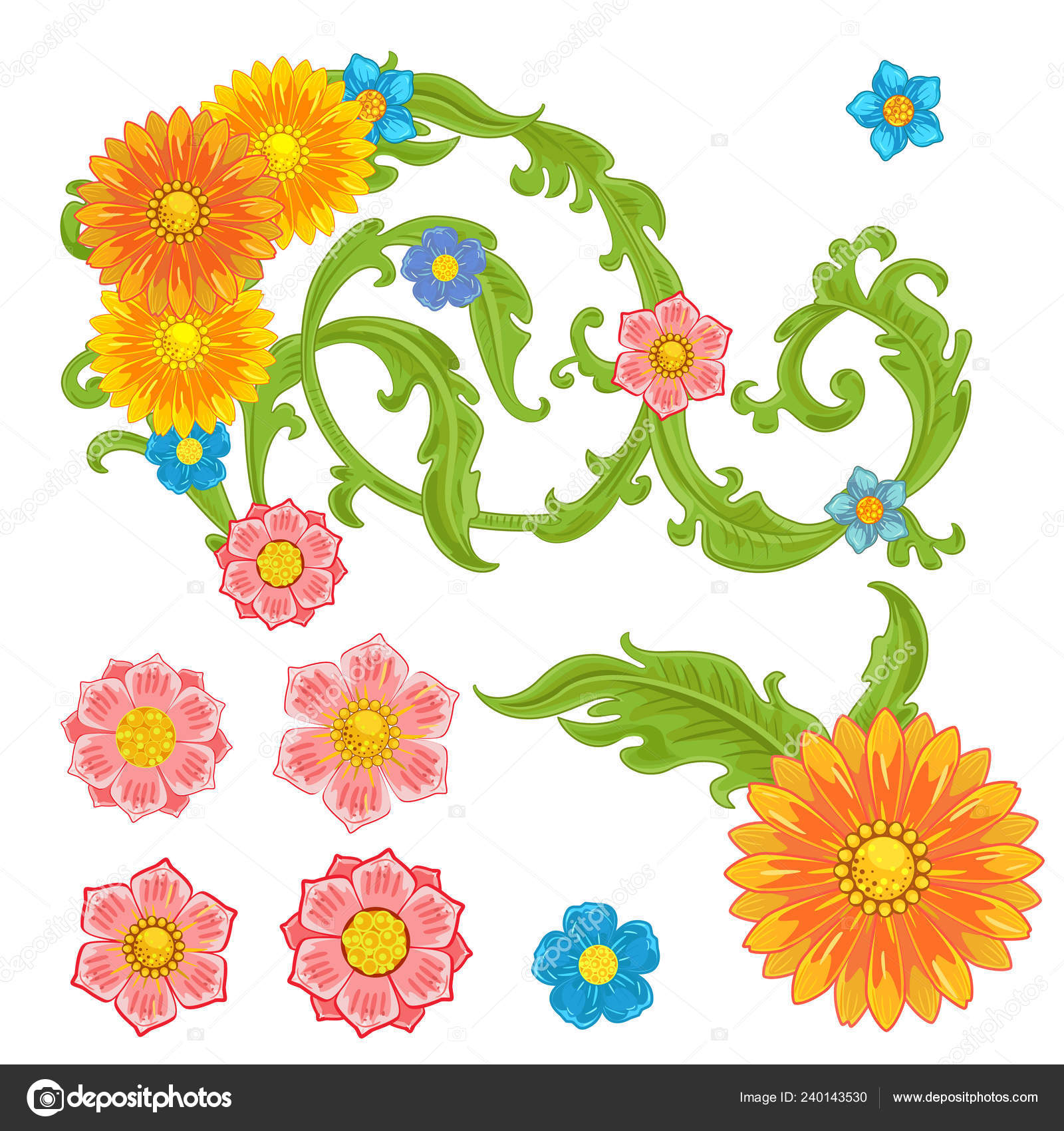 Collection rich baroque floral scroll filigree and flowers for your design– stock illustration