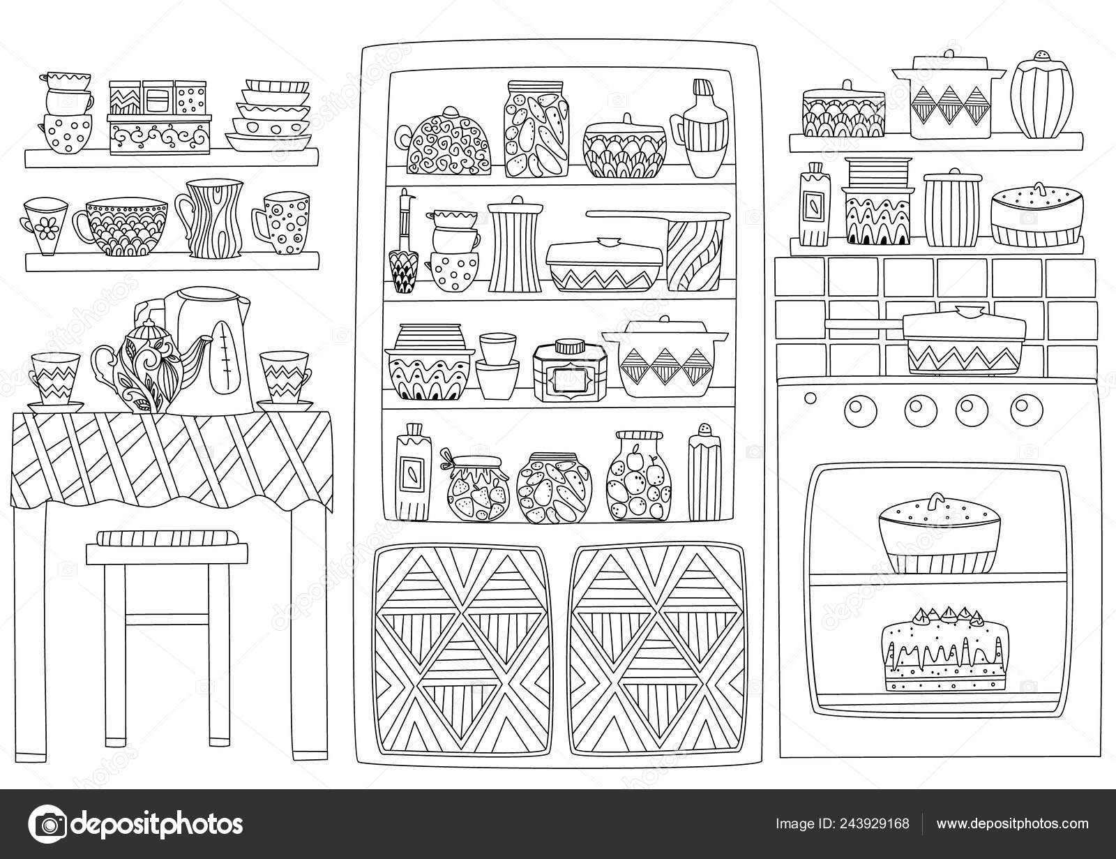 Interior Acogedor Cocina Con Mesa Cocina Armario Estantes