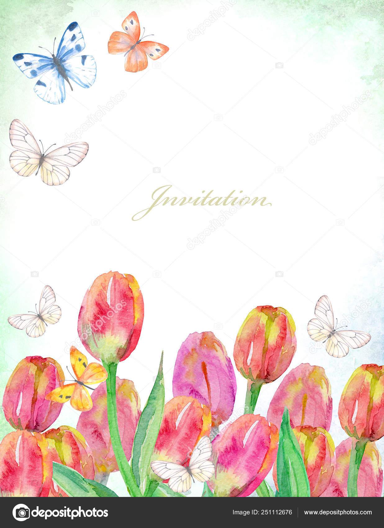 Tarjeta De Invitación Vintage Con Coloridos Tulipanes Y