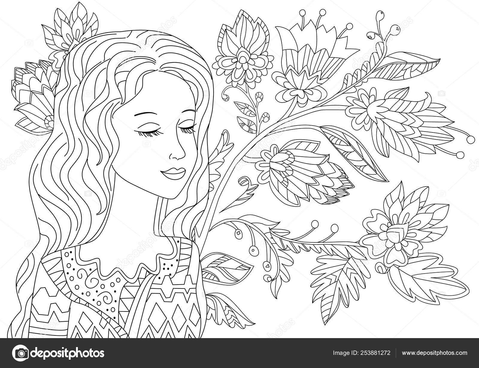 Chica Soñadora Con Ojos Cerrados Bosque Fantasía Para Página Para