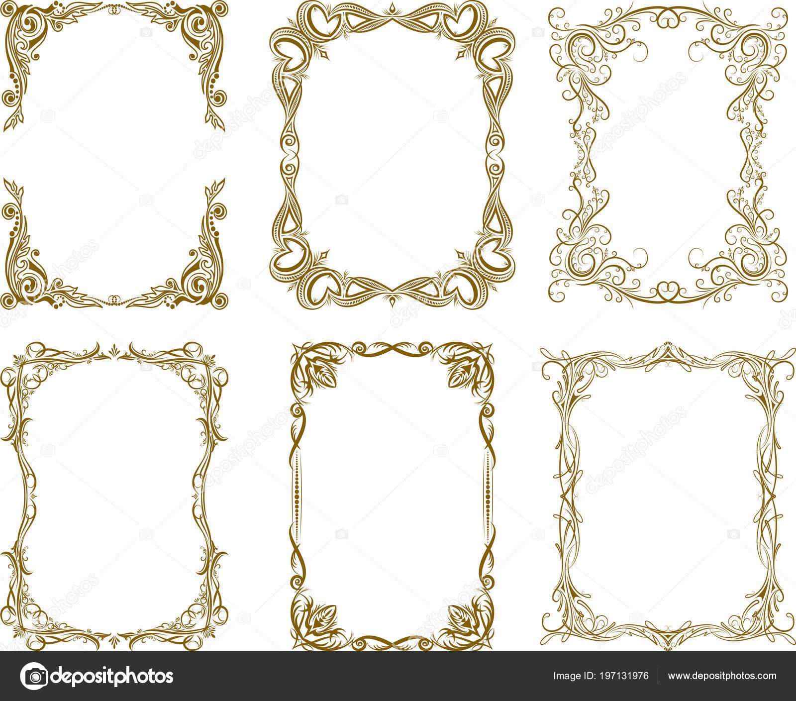 Set Six Decorative Frames Rich Brown Gamma — Stock Vector ...