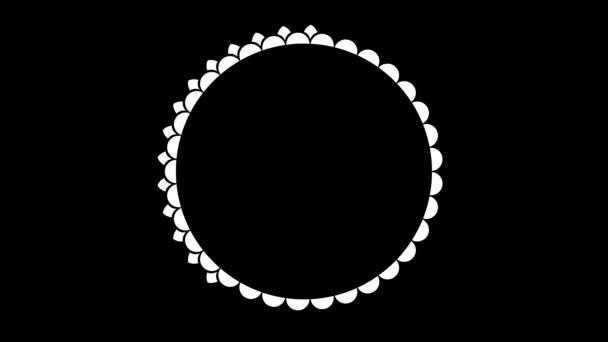 Elegáns animáció fehér kör keret egy fekete háttér