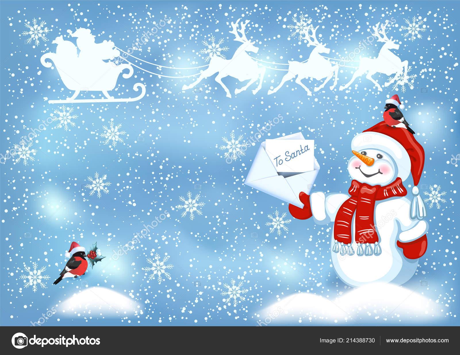 Carte Noël Avec Bonhomme Neige Drôle Cap Santa Avec Lettre