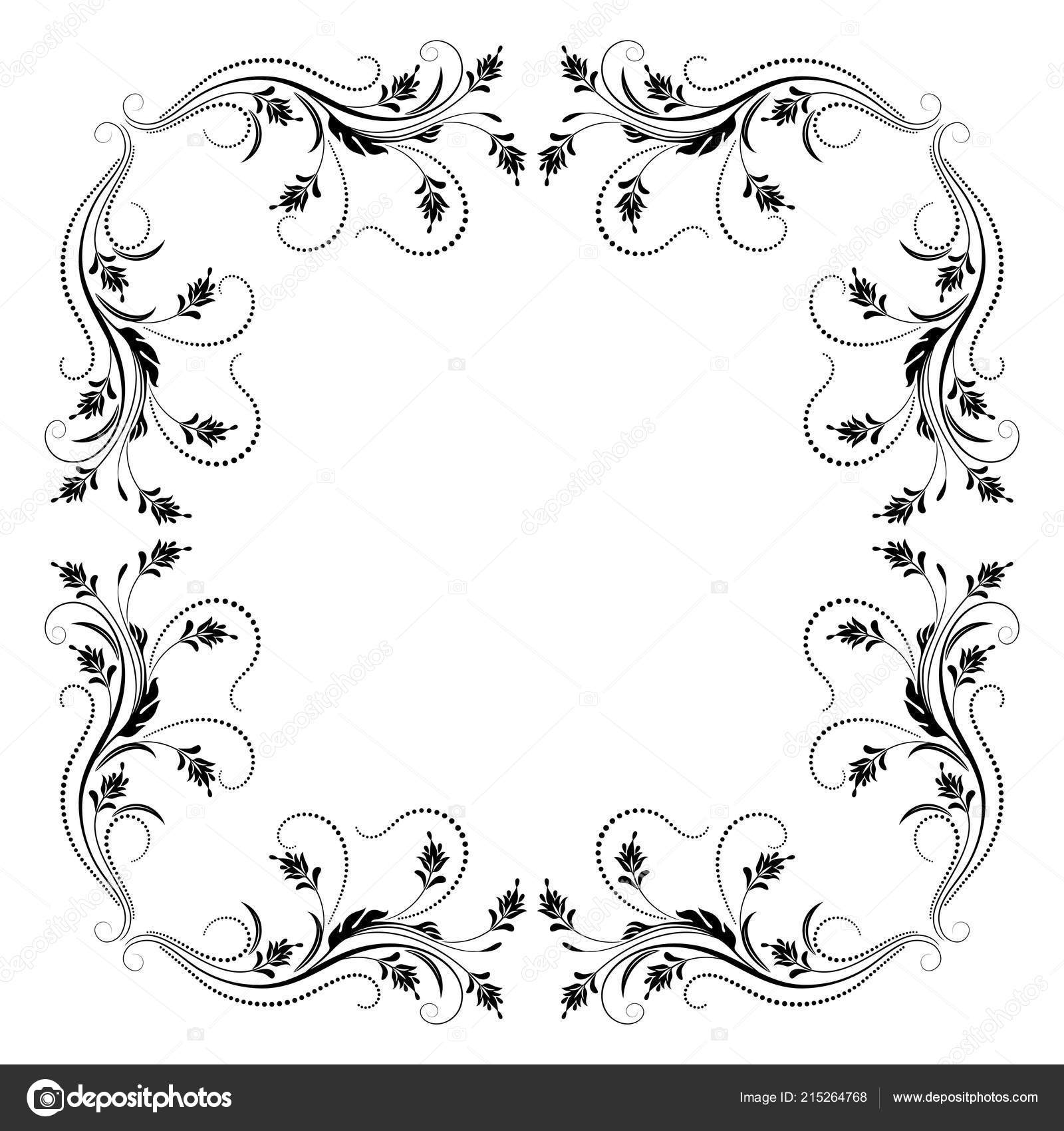 Decorative Vintage Frame Floral Ornament Retro Style Isolated White ...