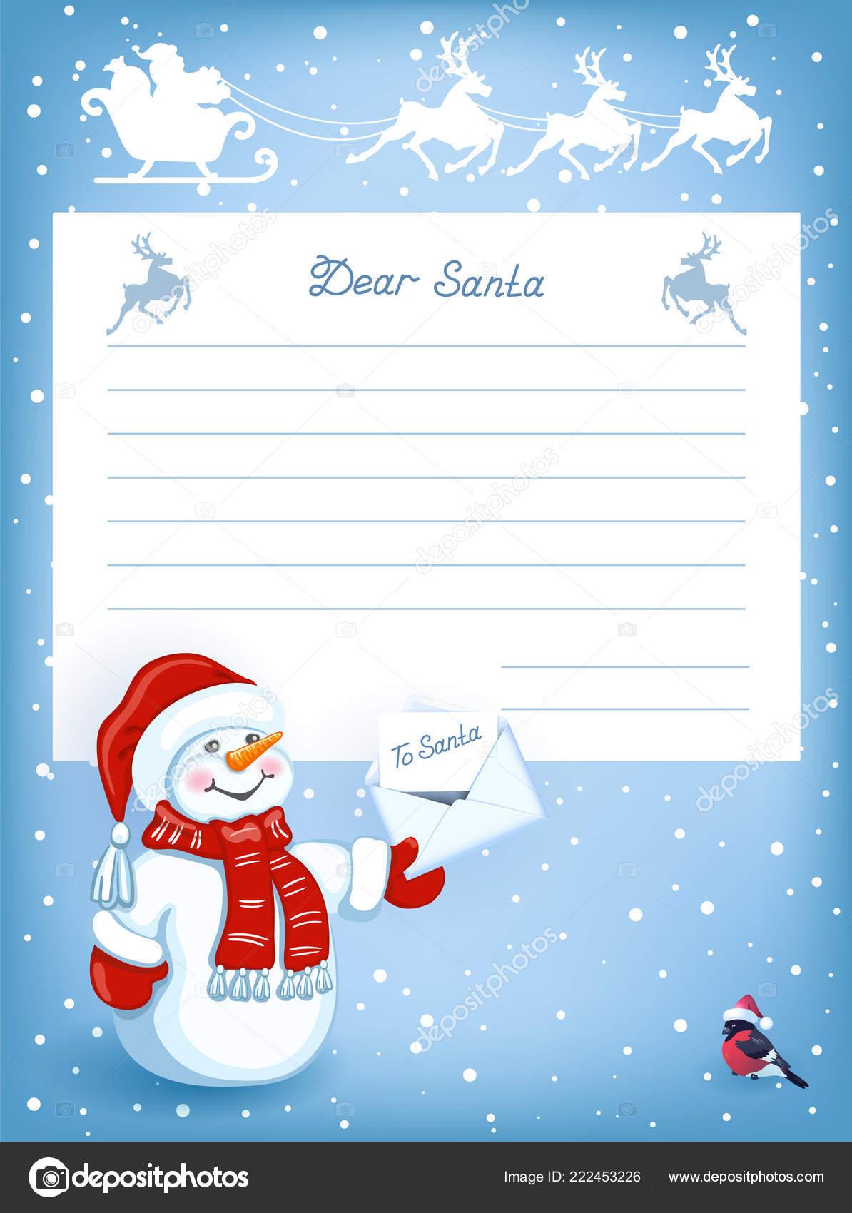 Layout Brief Den Weihnachtsmann Mit Cartoon Lustigen Schneemann Mit
