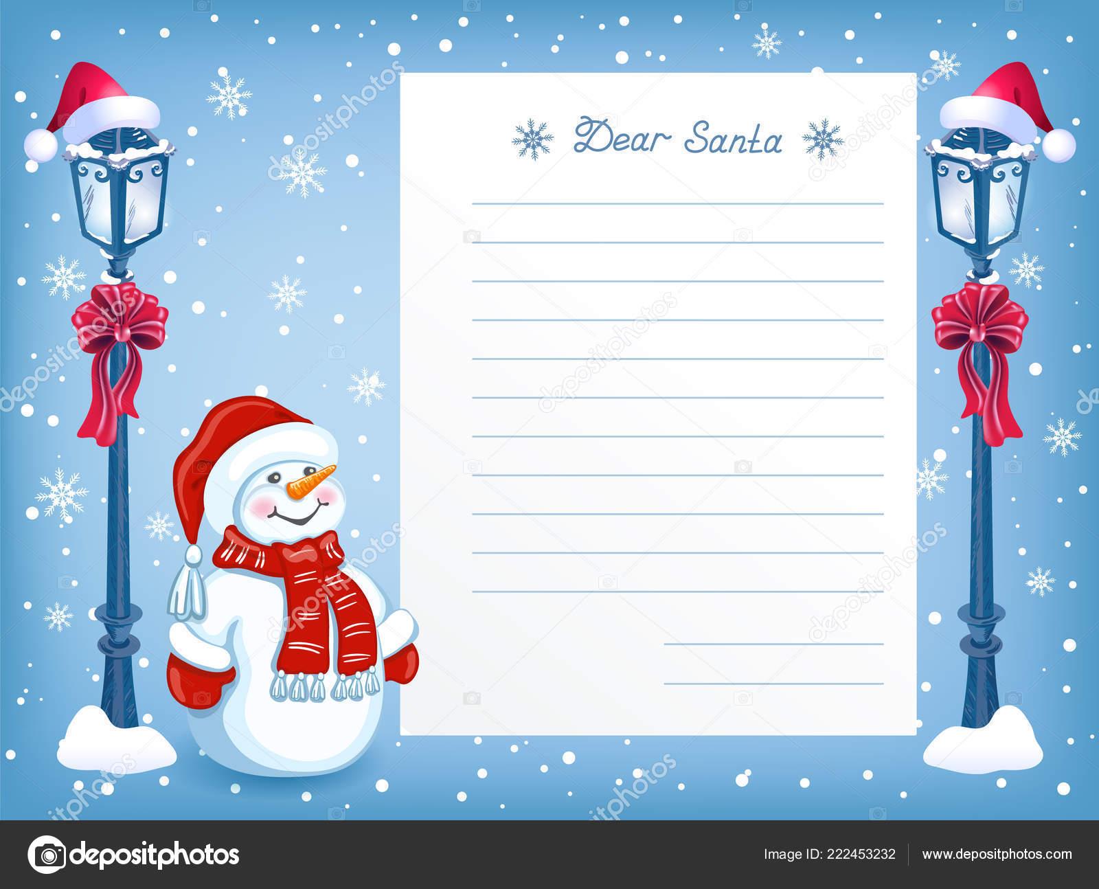 Layout Brief Den Weihnachtsmann Mit Cartoon Lustigen Schneemann