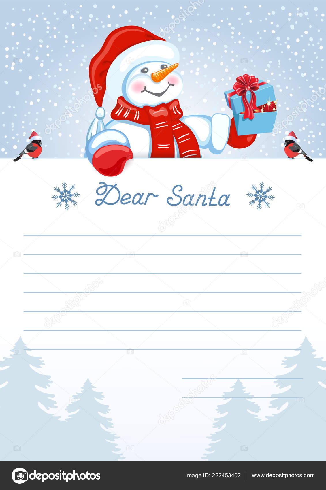 Layout Letter Santa Claus Wish List Cartoon Funny Snowman Christmas ...