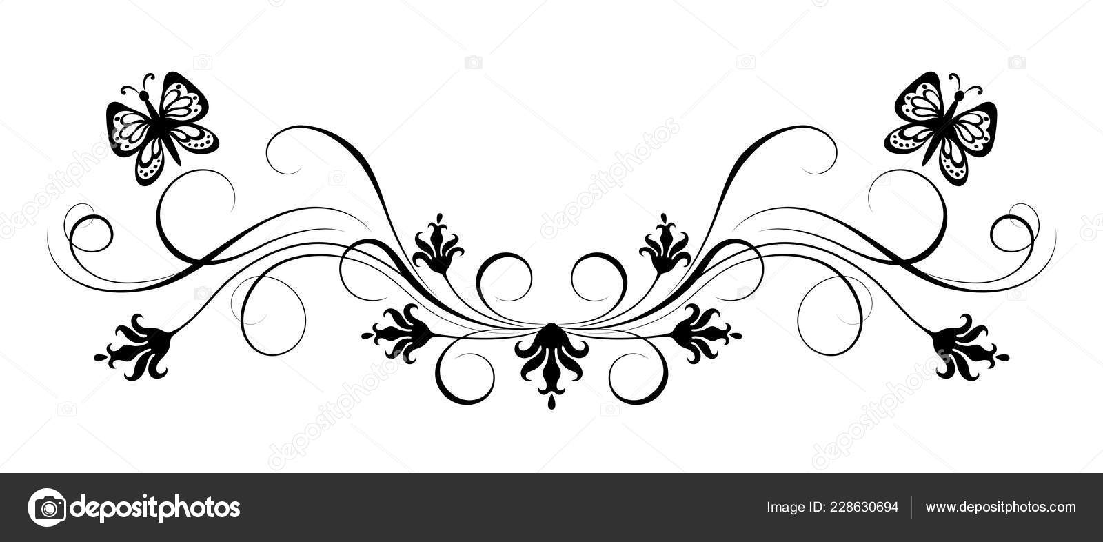 Decorative Flora Ornament Flowers Butterfly Stencil Isolated