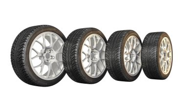 3d image of unused car tires stock vector