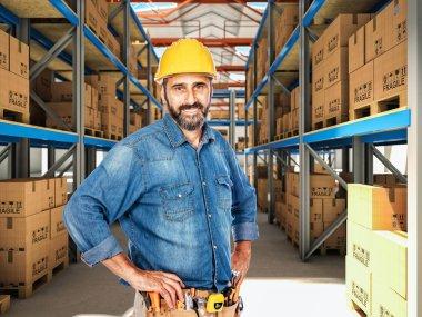 Confident handyman in classic warehouse stock vector