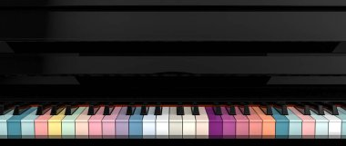 3d rendering of colorful piano key board