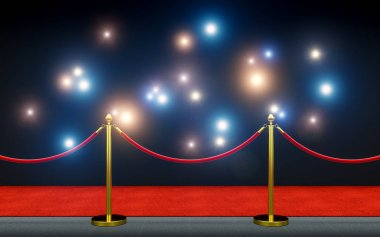 Red carpet and paparazzi flash 3d rendering image stock vector