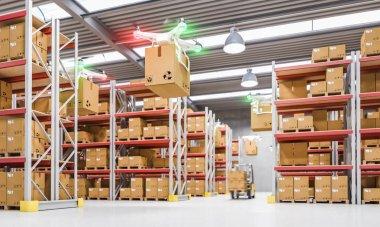 Drones work in warehouse 3d rendering image stock vector