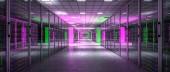 Serverraum mit violettem und grünem Licht, niemand ist da, 3D-Rendering. Konzept aus Web, Internet, Datenbank und Telekommunikationstechnologie