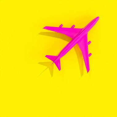 Fuchsia plane on a yellow background in flat lay style. nobody around. 3d render. stock vector