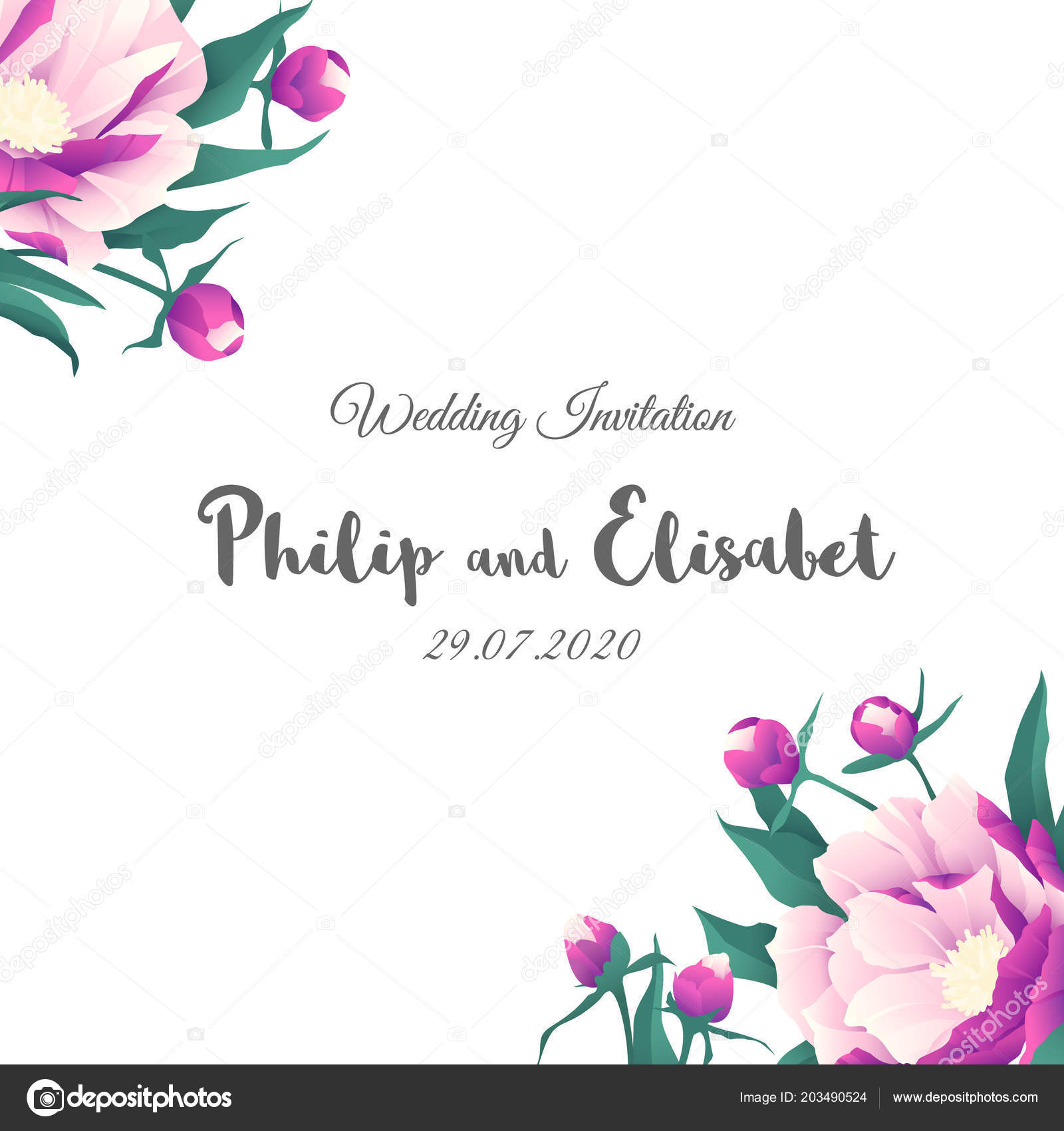 Vintage wedding invitation template peonies vector illustration vintage wedding invitation template peonies vector illustration vetor de stock stopboris Choice Image