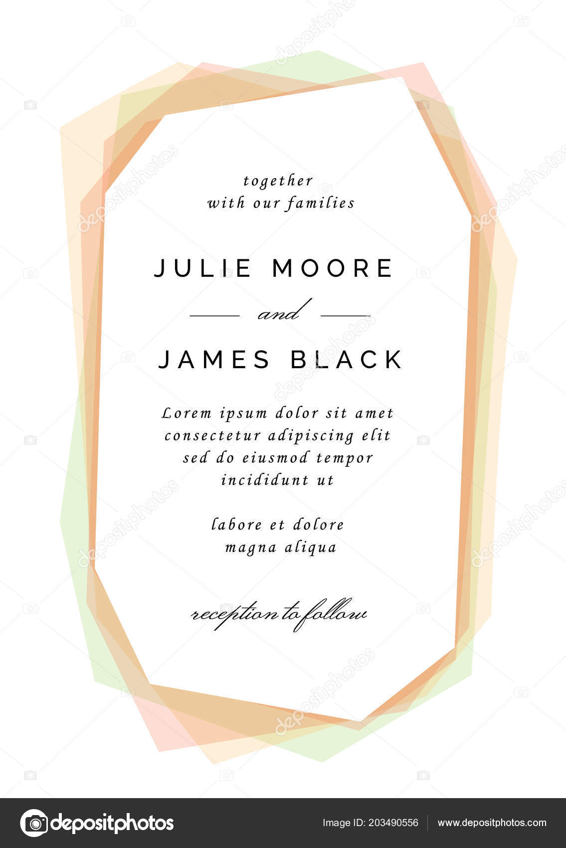 Modern Colorful Wedding Invitation Template Overlay Colors