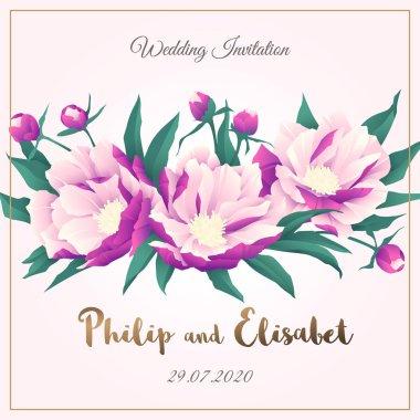 Vintage Wedding Invitation template with peonies. Vector illustration