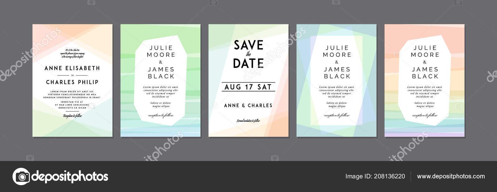 Set Modern Colorful Wedding Invitations Template Overlay Rainbow ...