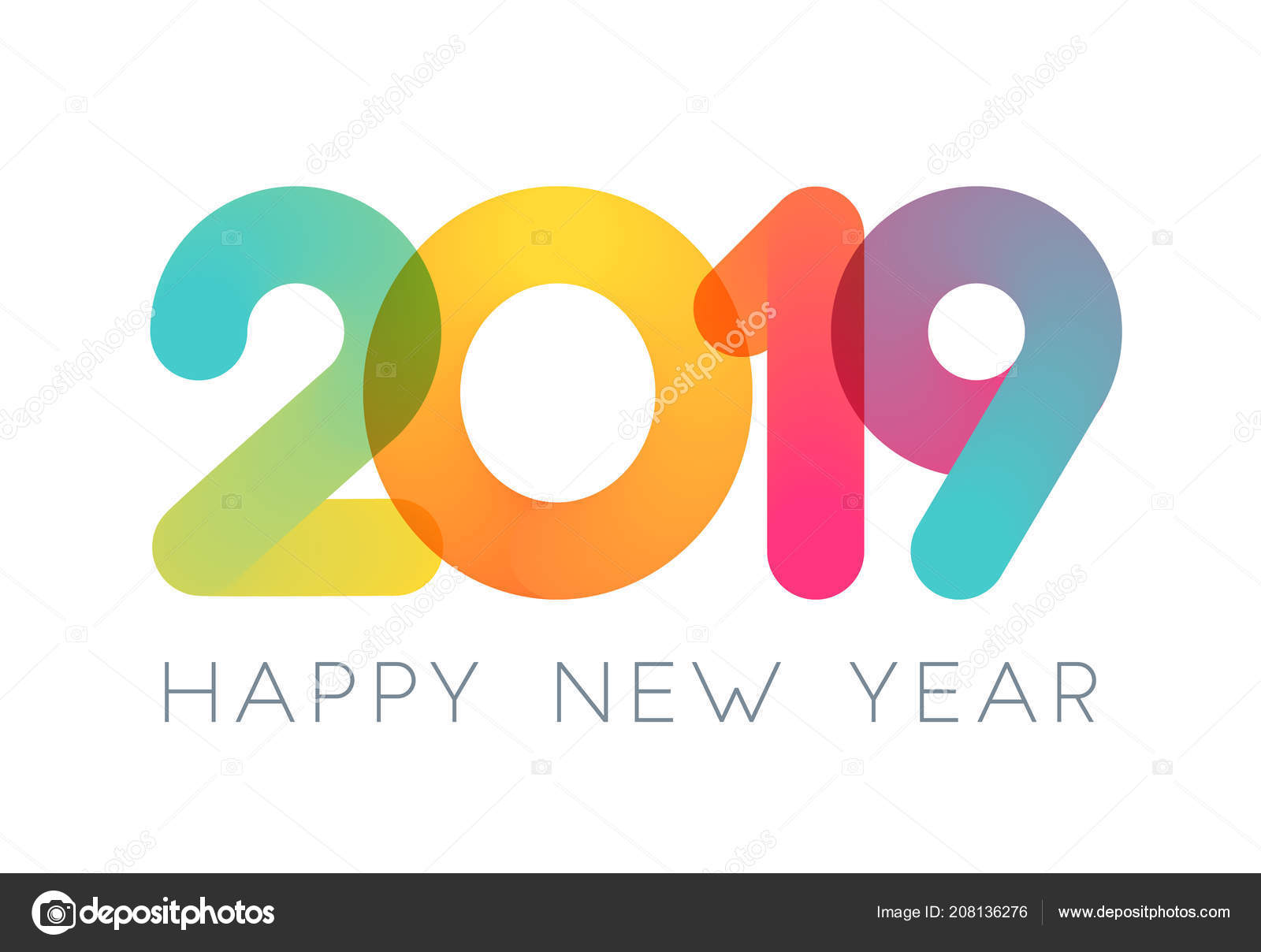 2019 happy new year typography design vector color overlay - New year 2019 color ...