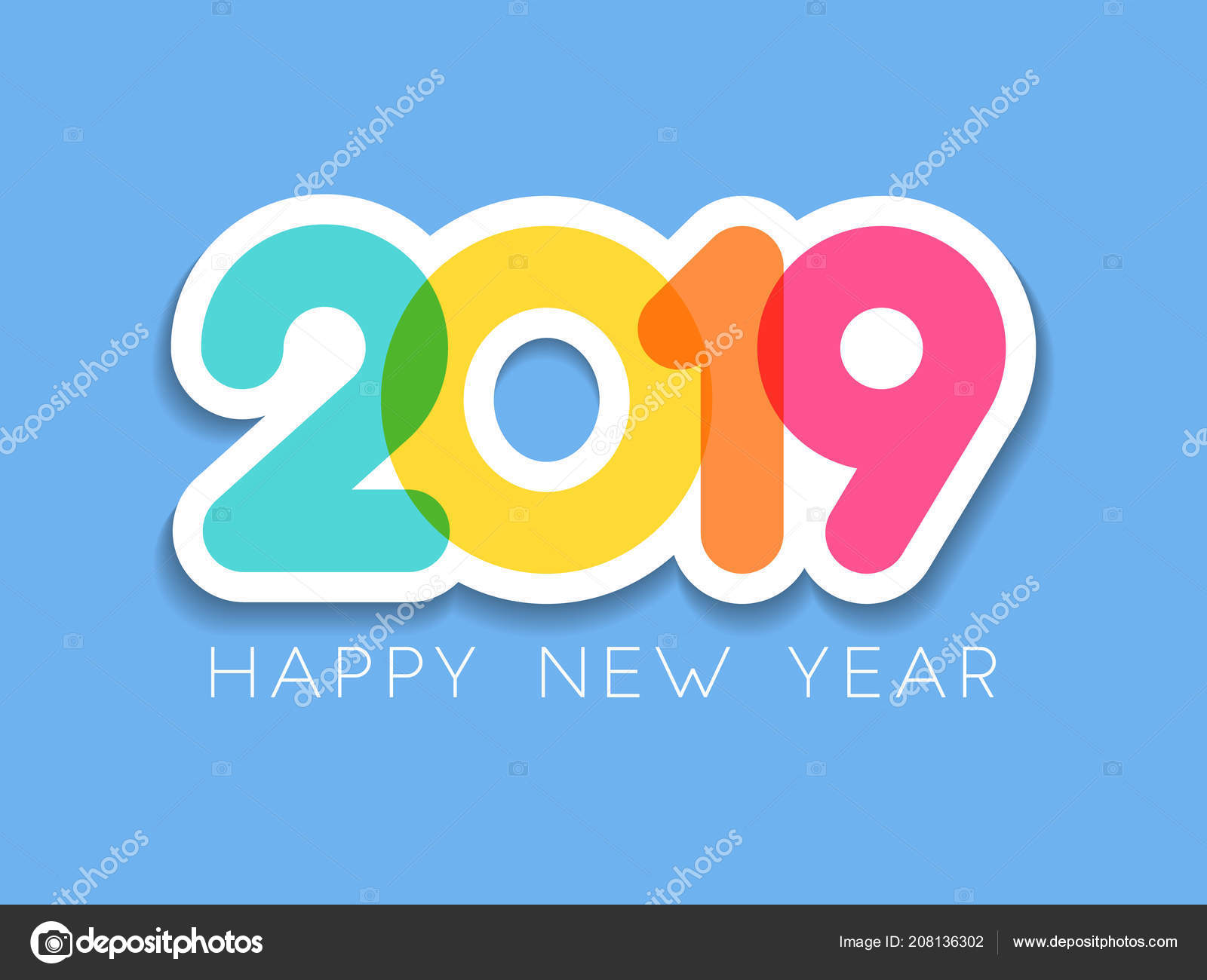 2019 Happy New Year Typography Design Vector Color Overlay Numbers ...